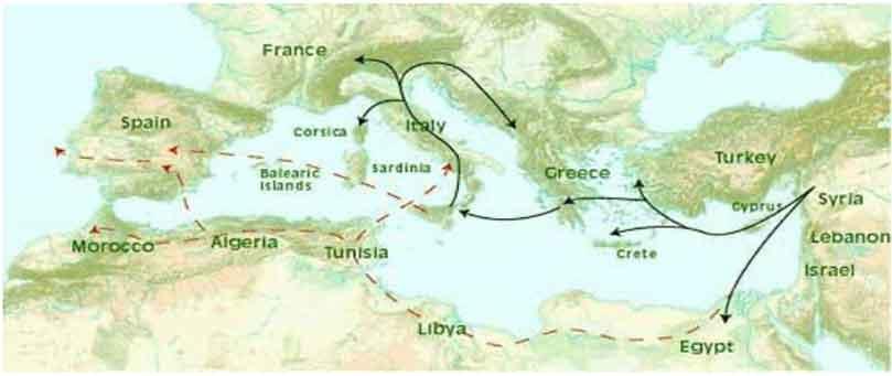 Χάρτης λεκάνης Μεσσογείου